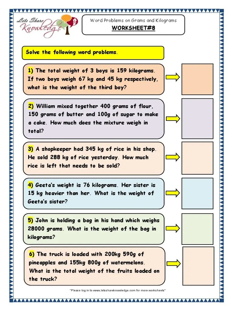 small resolution of Grade 3 Maths Worksheets Word Problems on Grams and Kilograms 8   Kilogram    Units Of Measurement