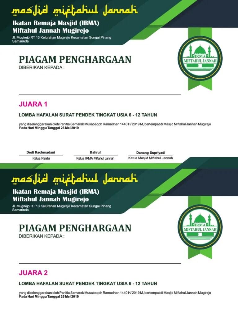 Desain Piagam Penghargaan : desain, piagam, penghargaan, Desain, Piagam, Penghargaan, Juara