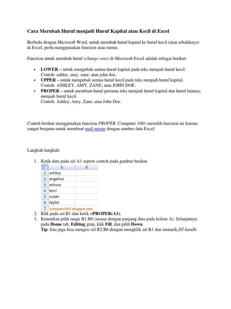 Cara Merubah Huruf Besar Menjadi Kecil Di Excel : merubah, huruf, besar, menjadi, kecil, excel, Merubah, Huruf, Kecil, Kapital, Excel