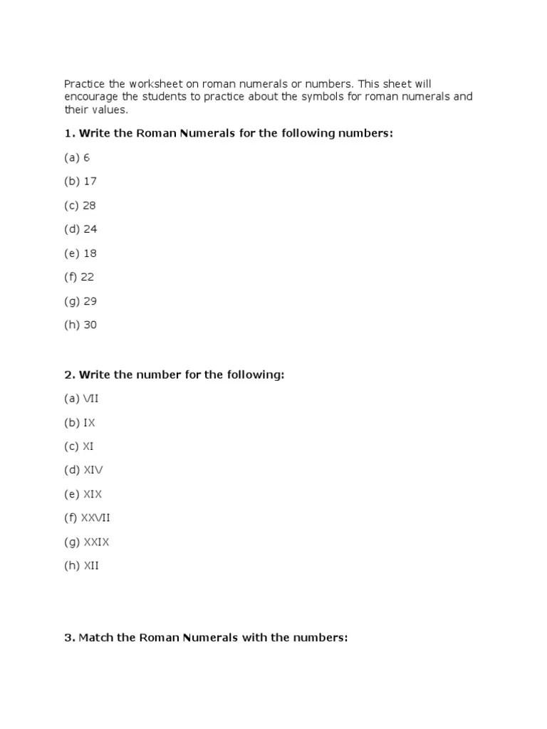 hight resolution of Roman Numerals Worksheet Grade 4