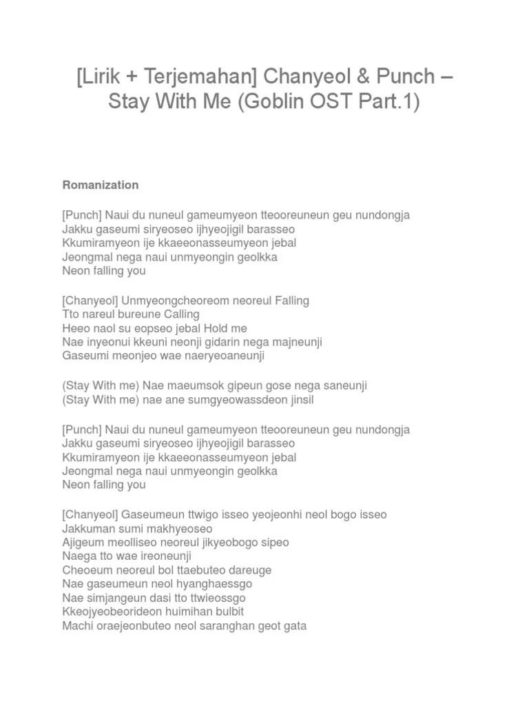 Lirik Lagu Stay With Me Ost Goblin : lirik, goblin, Lirik, Gosblin