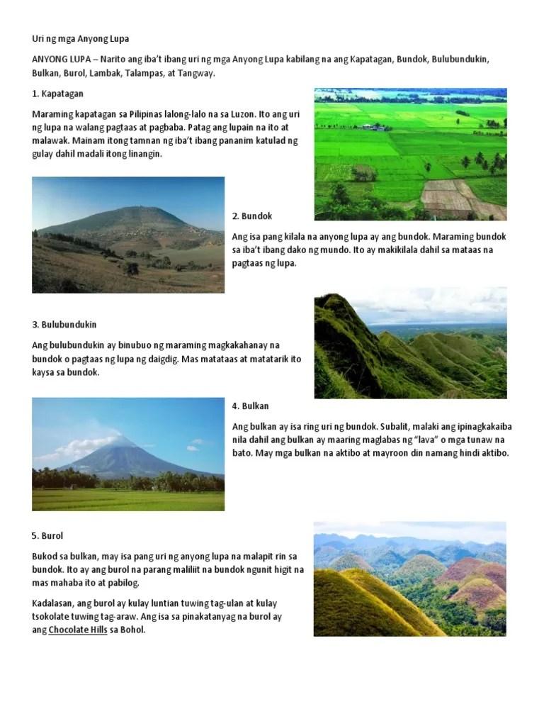 medium resolution of Mga Talampas Sa Pilipinas