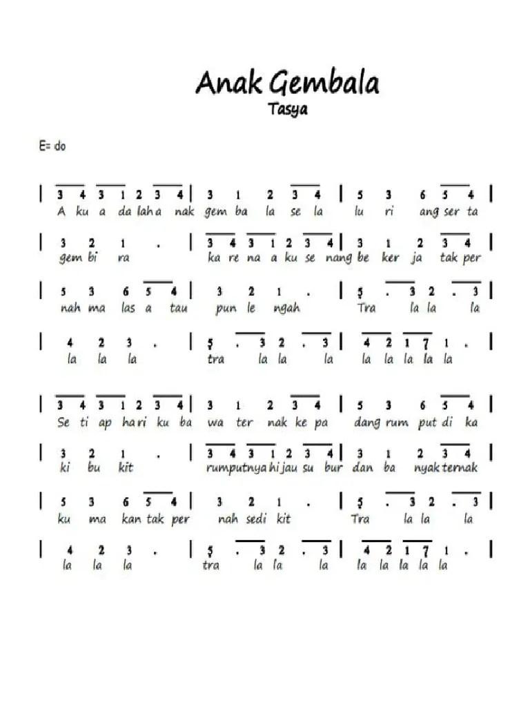 Lagu Anak Dan Notasinya : notasinya, 294477318, Angka, Laskar, Pelangi, Nidji
