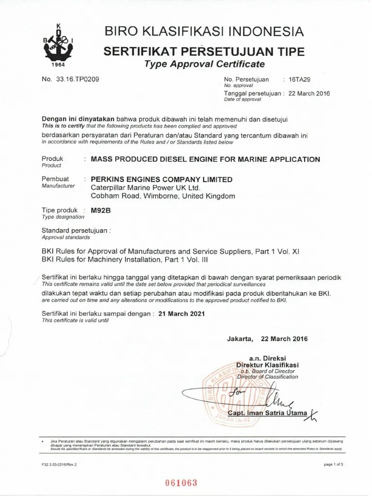 Laporan Surveyor / Certificate Of Inspection : laporan, surveyor, certificate, inspection, Certificate, Engine, PERKINS