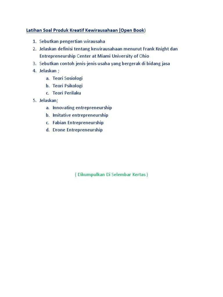 Sebutkan Contoh Usaha Di Bidang Jasa : sebutkan, contoh, usaha, bidang, Latihan, Produk, Kreatif, Kewirausahaan.docx