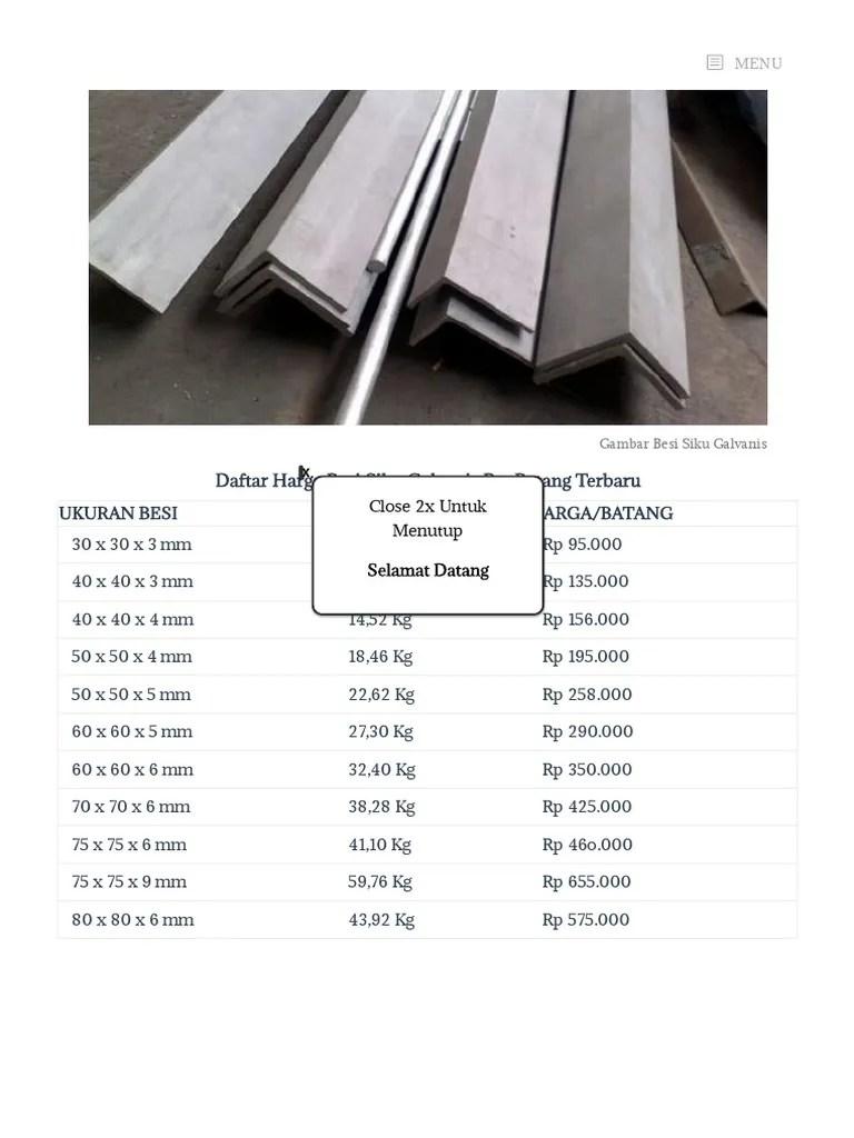 Besi Siku 50x50 : 50x50, Daftar, Harga, Terbaru, Material