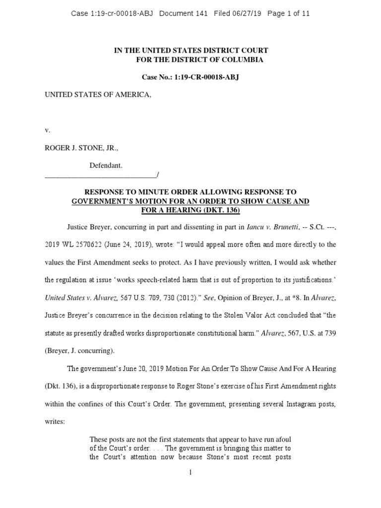 Roger Stone Response Gag Order Violation | Government | Politics