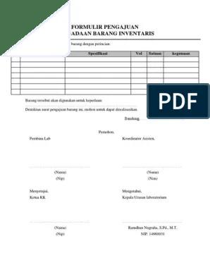 Contoh Form Pengajuan Barang : contoh, pengajuan, barang, Pengajuan, Pengadaan, Barang, Inventaris, FTE.docx