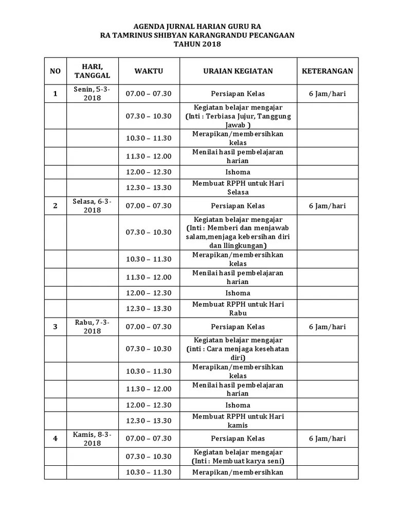 Jurnal Agenda Guru K13 : jurnal, agenda, Agenda, Jurnal, Harian