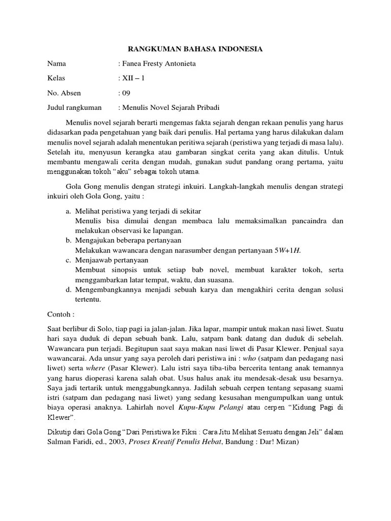Novel Sejarah Pribadi : novel, sejarah, pribadi, Rangkuman, Novel, Sejarah, Pribadi