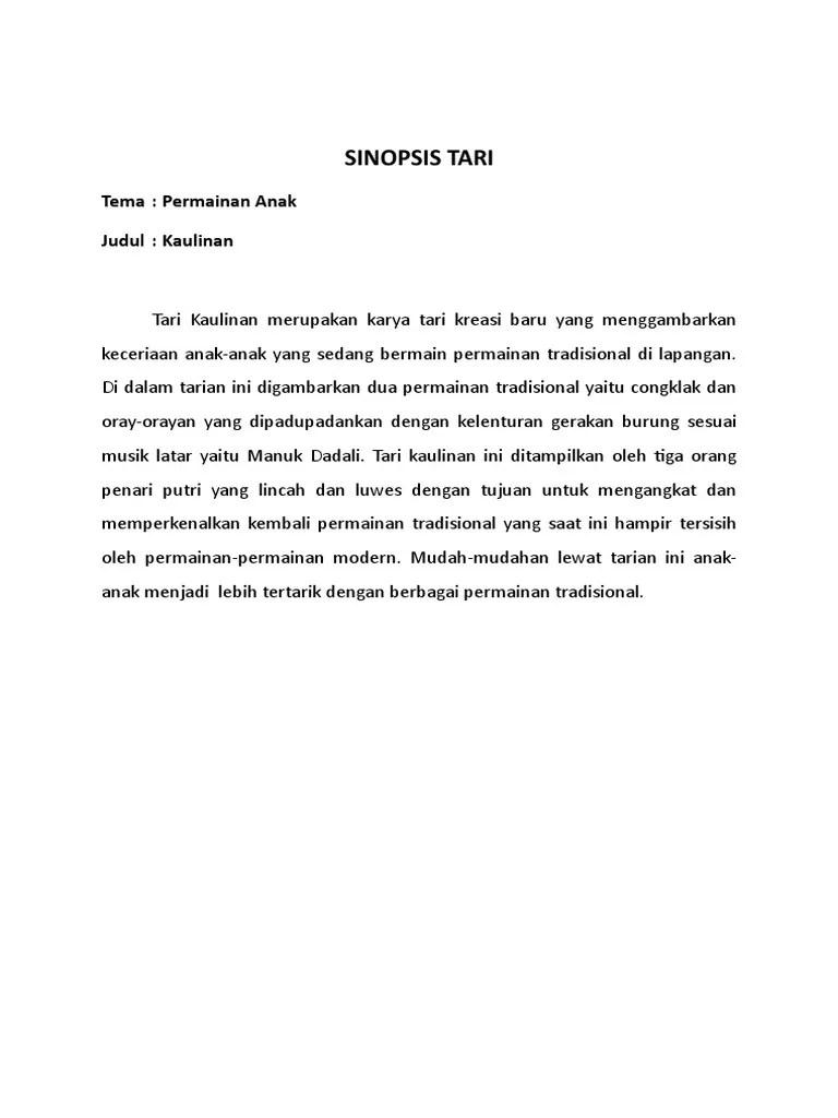 Sinopsis Tari Kreasi : sinopsis, kreasi, SINOPSIS, TARI.docx