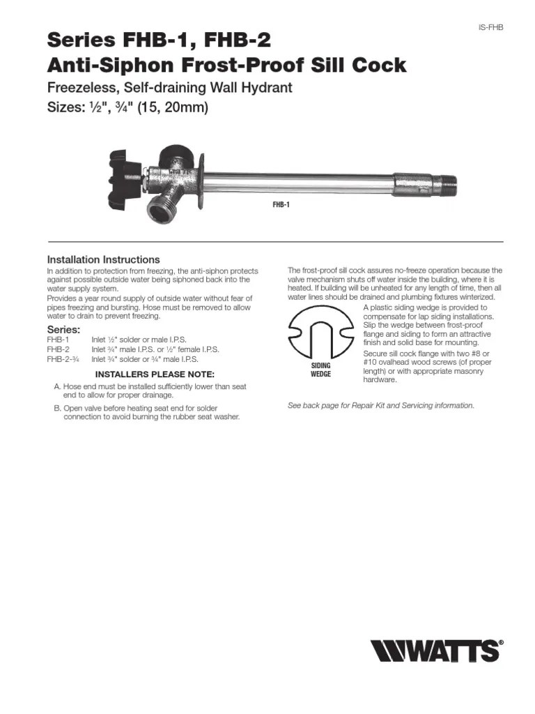 hight resolution of series fhb 1 fhb 2 anti siphon frost proof sill cock installation instructions tap valve implied warranty
