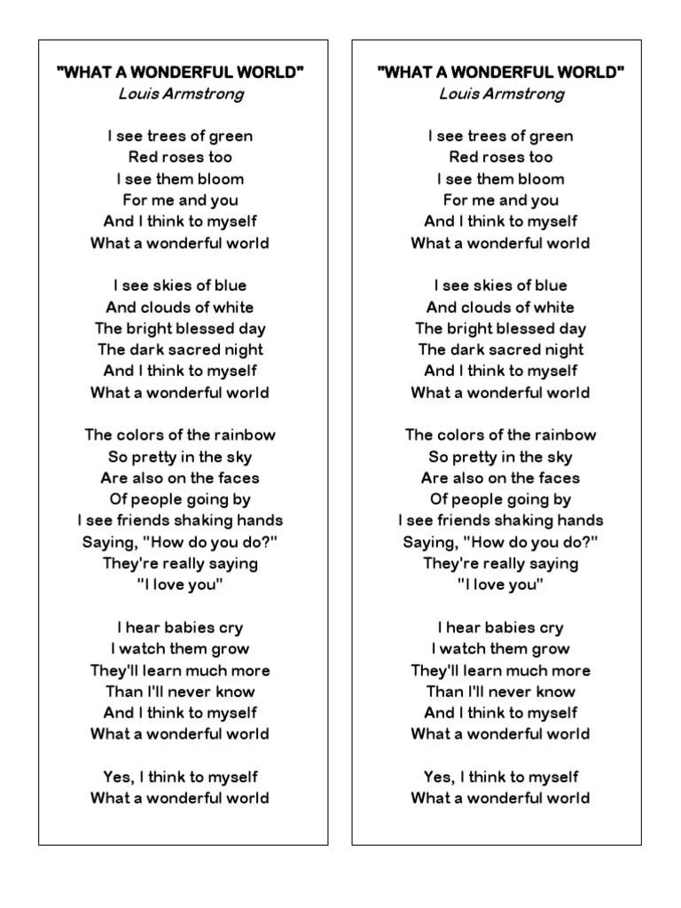 What A Wonderful World Paroles : wonderful, world, paroles, Wonderful, World, Lyrics