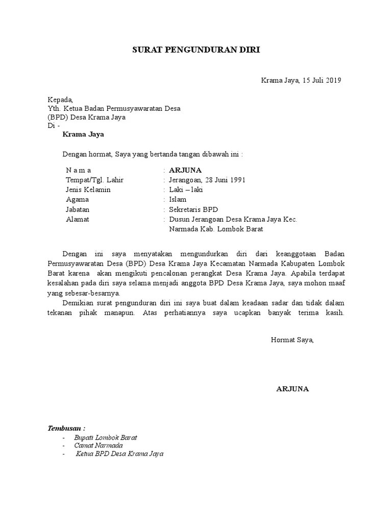 Contoh Surat Pengunduran Diri Anggota Bpd Id Lif Co Id