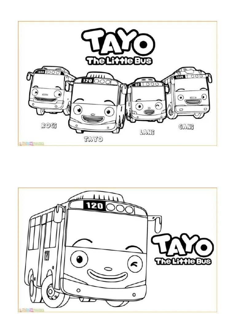 Mewarnai Tayo Little Bus : mewarnai, little, Mewarnai