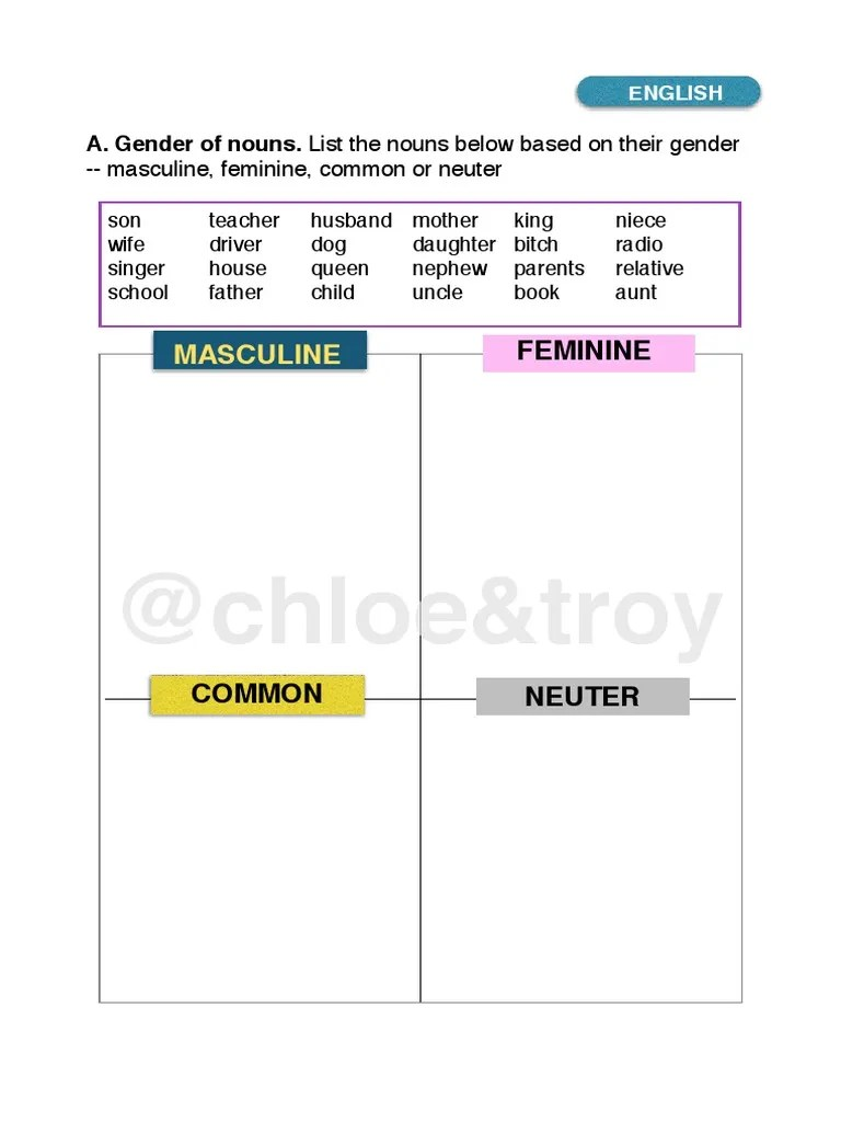 small resolution of Grade 2 English test   Grammatical Gender   Philology