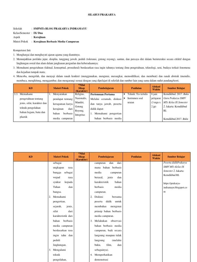 Silabus Prakarya Kelas 9 : silabus, prakarya, kelas, SILABUS, Kelas, Kerajinan