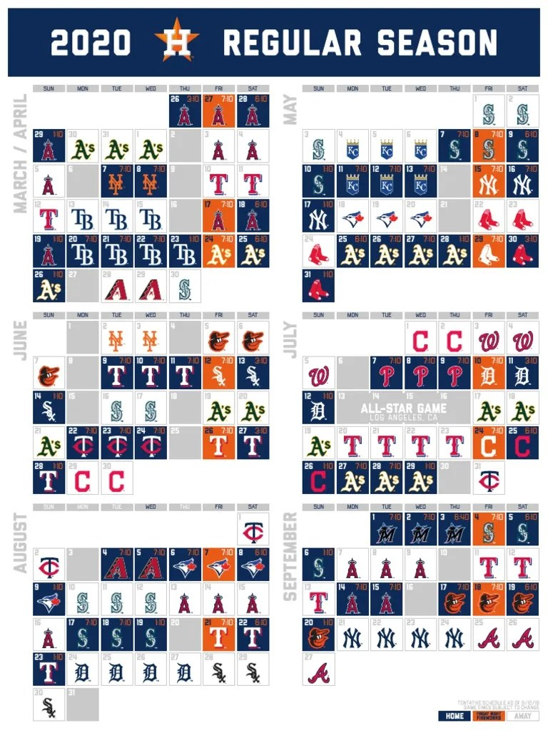 Astros 2020 Schedule Regular Season