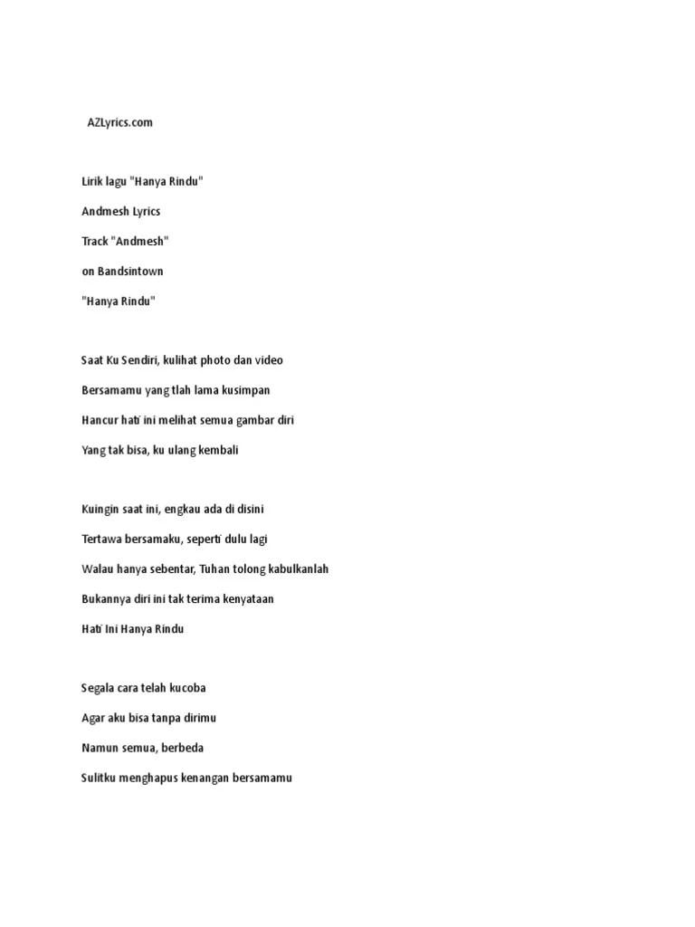 Lagu Andmesh Hanya Rindu : andmesh, hanya, rindu, Lirik, Hanya, Rindu