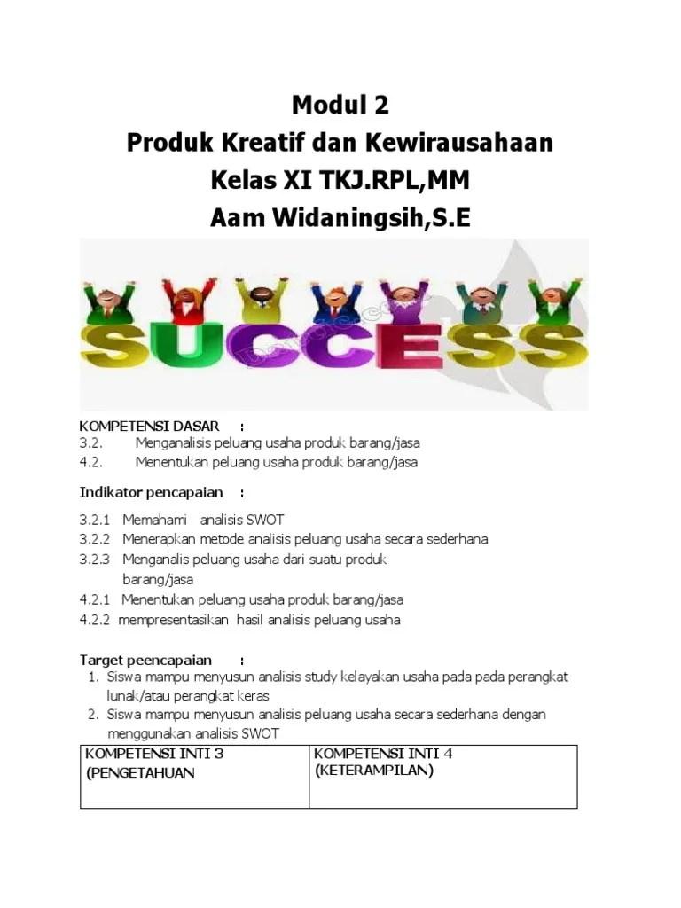 Produk Kreatif Dan Kewirausahaan Tkj : produk, kreatif, kewirausahaan, Modul