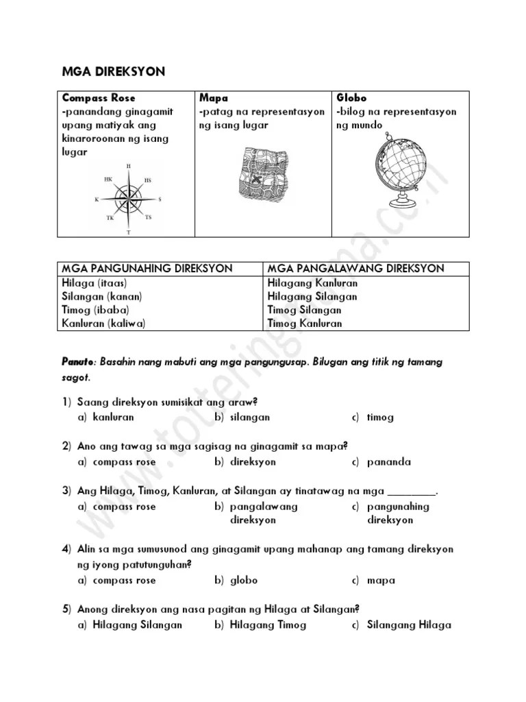 small resolution of AP2 Mga Direksyon.pdf