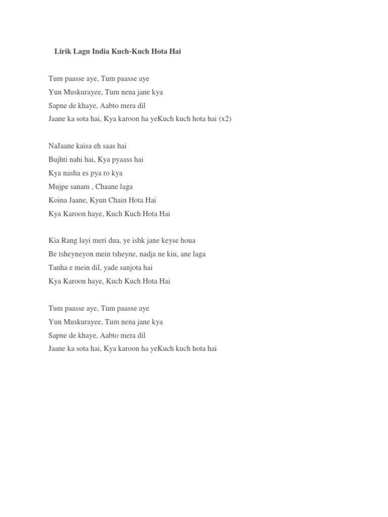 Lirik Lagu Kuch Kuch Hota Hai : lirik, Lirik, India