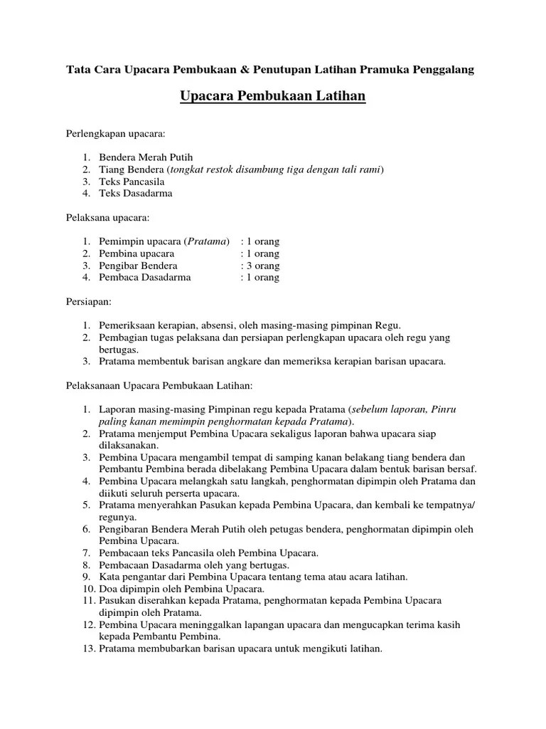 Tata Upacara Pramuka Siaga : upacara, pramuka, siaga, Upacara, Pembukaan, Pramuka, Penggalang