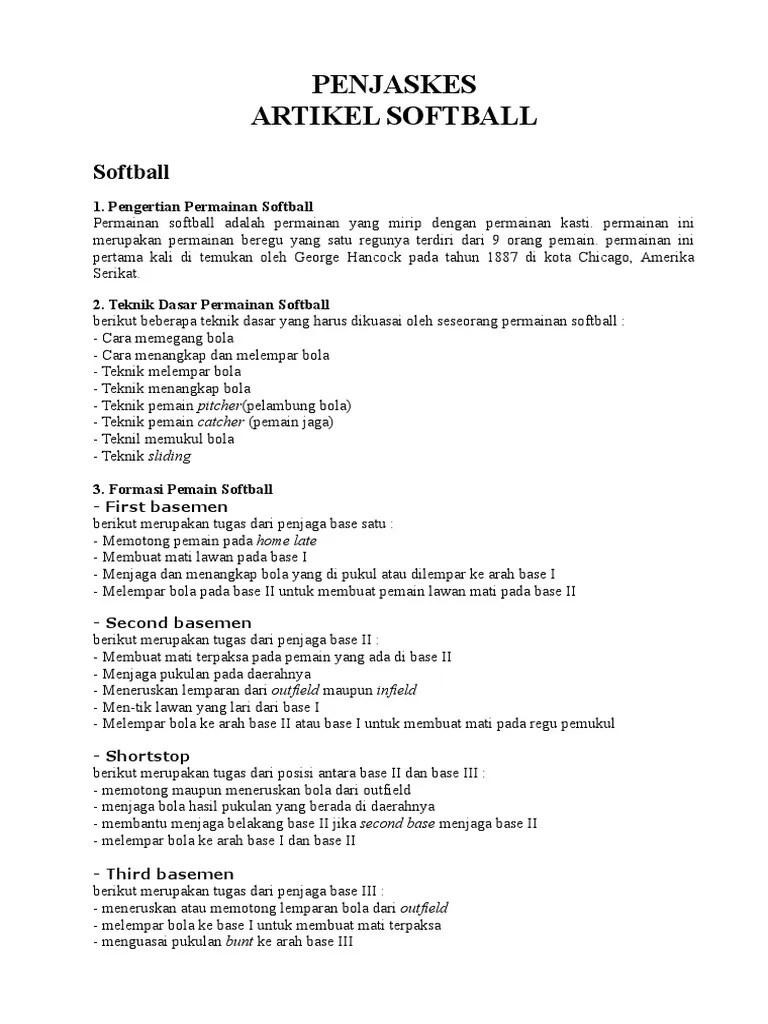 Tugas First Baseman : tugas, first, baseman, Penjaskes, Artikel, Softball