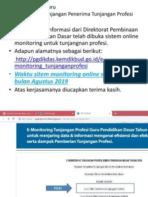 Pgdikdas.kemdikbud.go.id/e-monitoring Tunjanganprofesi : pgdikdas.kemdikbud.go.id/e-monitoring, tunjanganprofesi, Monitoring, Onlen, Penerima, Tunjangan, Profesi