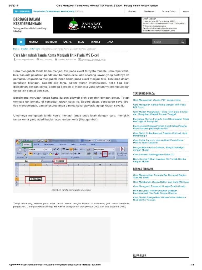 Cara Merubah Koma Menjadi Titik Di Excel : merubah, menjadi, titik, excel, Mengubah, Tanda, Menjadi, Titik, Excel