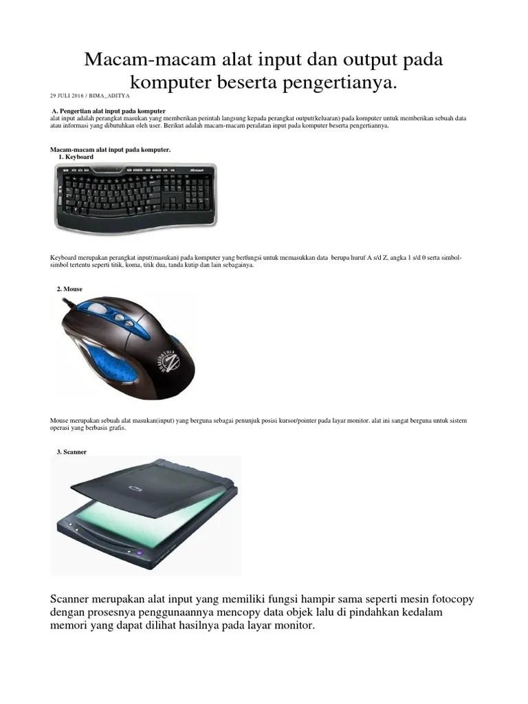 Alat Masukan Komputer : masukan, komputer, Input, Ouput, Komputer