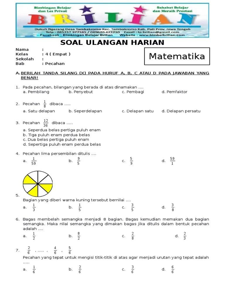 Soal Matematika Kelas 4 Pecahan : matematika, kelas, pecahan, Ulangan, Matematika, Kelas, Pecahan, Senilai, Download