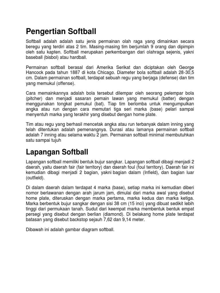 Sofbol - Wikipedia bahasa Indonesia, ensiklopedia bebas