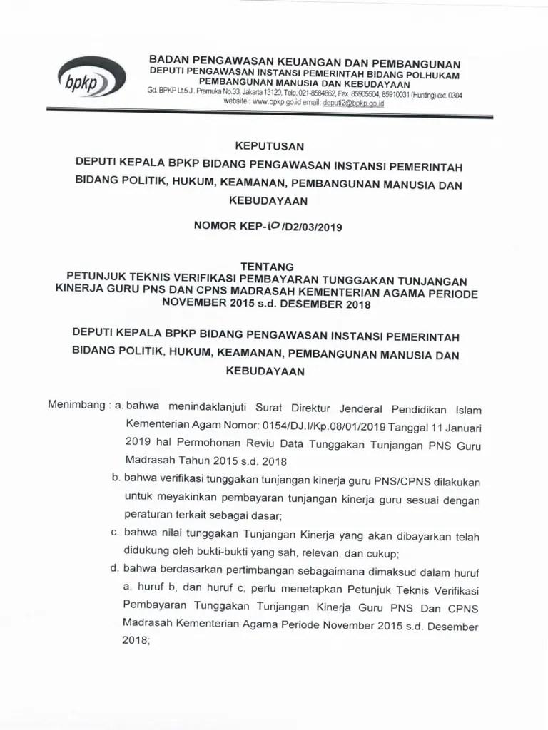 Cpns Bpkp 2018 : JUKNIS, VERIFIKASI, PEMBAYARAN, TUNGGAKAN, TUNJANGAN, KINERJA, PNS.pdf