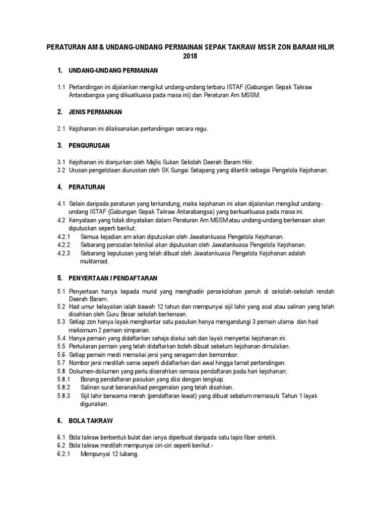 Peraturan Takraw : peraturan, takraw, Peraturan, Sepak, Takraw