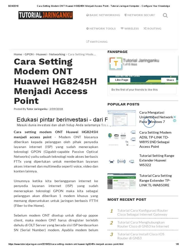Setting Modem Adsl Menjadi Access Point : setting, modem, menjadi, access, point, Setting, Modem, Huawei, HG8245H, Menjadi, Access, Point
