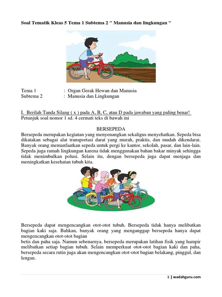 Subtema 2 Manusia Dan Lingkungan : subtema, manusia, lingkungan, Tematik, Kelas, Subtema, Wadahguru.com.docx
