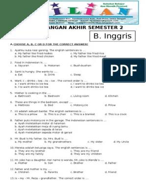 Soal Uas Kelas 3 Sd Semester 2 : kelas, semester, Inggris, Kelas, Semester, Kunci, Jawaban.pdf, Fruit, Cuisine