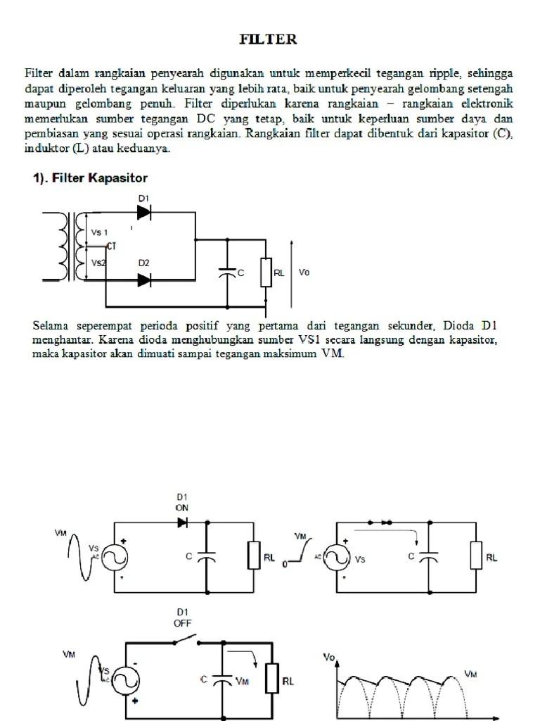 Rangkaian Penyearah Gelombang Penuh Dengan Filter Kapasitor : rangkaian, penyearah, gelombang, penuh, dengan, filter, kapasitor, Penyearah, Dengan, Filter
