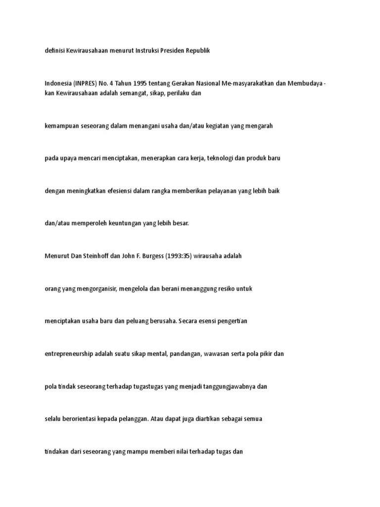 Pengertian Kewirausahaan Menurut Inpres No 4 Tahun 1995 : pengertian, kewirausahaan, menurut, inpres, tahun, Kewirausahaan