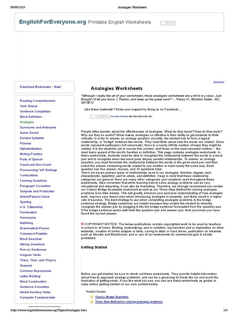 small resolution of Analogies Worksheets   Sentence (Linguistics)   Analogy