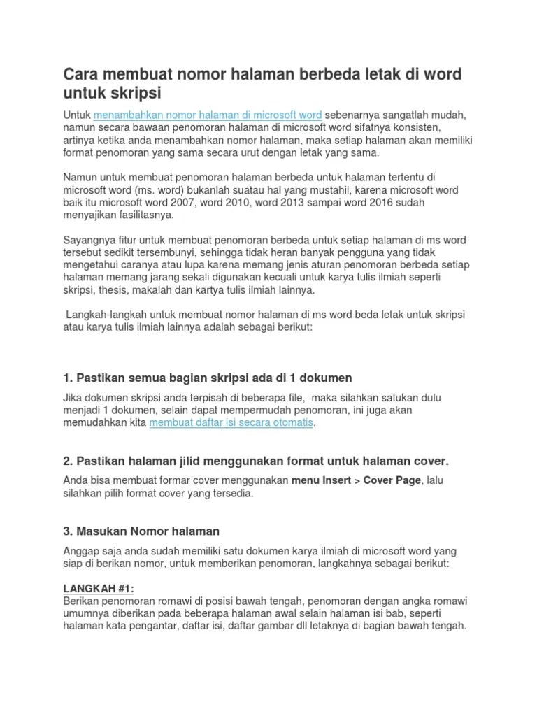Penomoran Halaman Makalah : penomoran, halaman, makalah, Membuat, Nomor, Halaman, Berbeda, Letak, Untuk, Skripsi