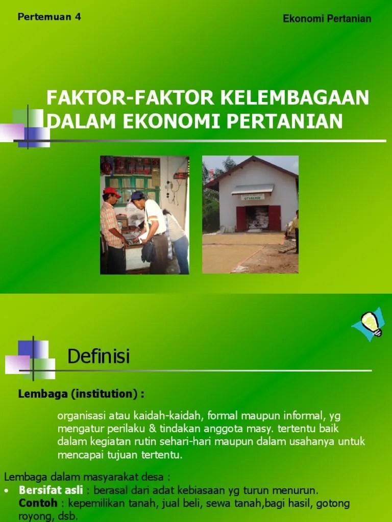 Contoh Lembaga Ekonomi : contoh, lembaga, ekonomi, FAktor, Kelembagaan, Dalam, Ekonomi, Pertanian
