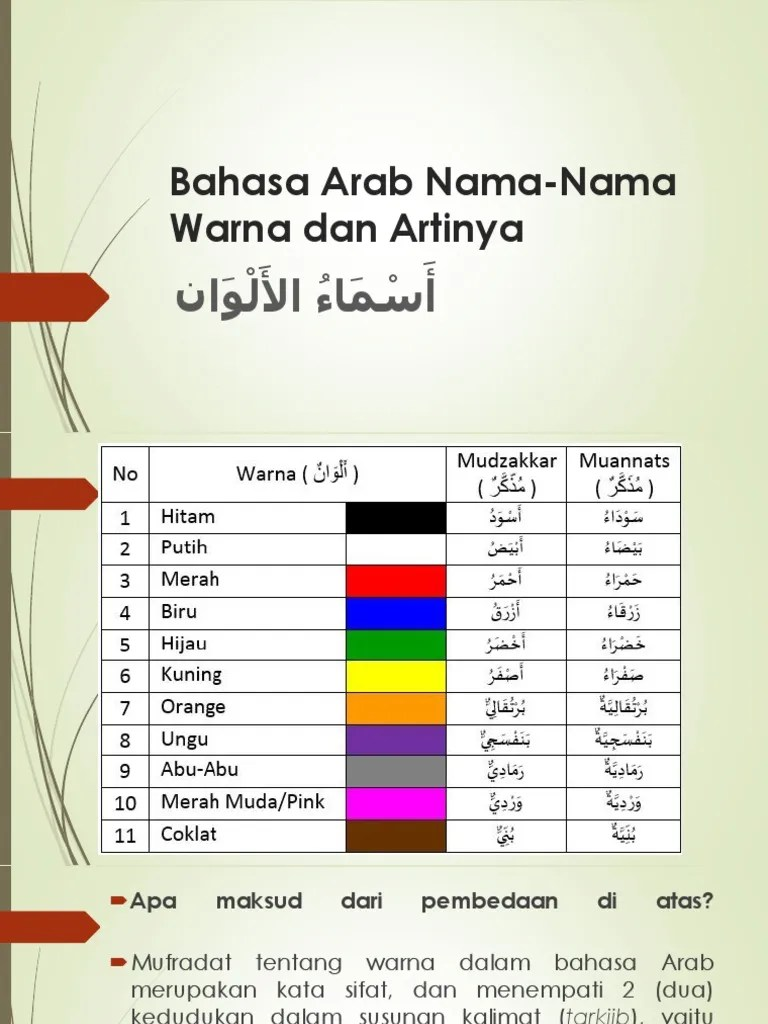 Nama Warna Bahasa Arab - Artinya Dan Kosakatanya 2021