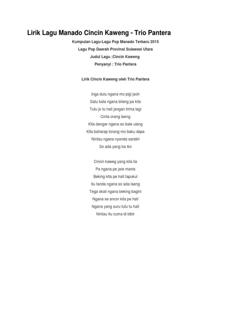 Cincin Kaweng Lirik : cincin, kaweng, lirik, Lirik, Manado, Cincin, Kaweng