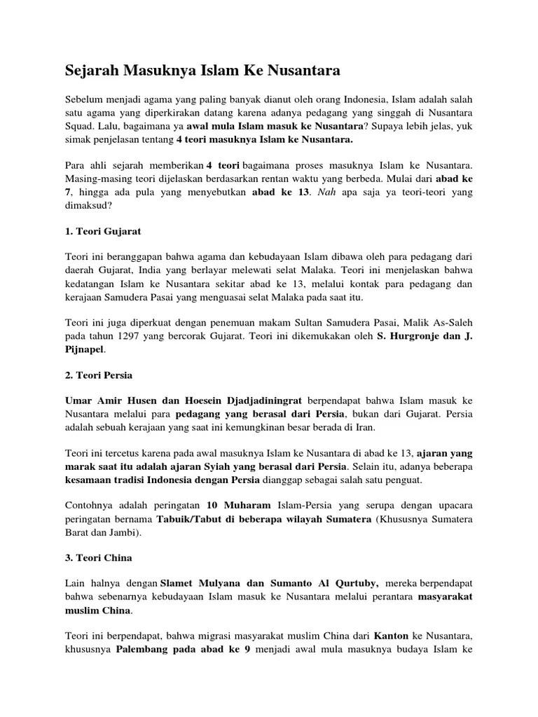 4 Teori Masuknya Islam Ke Indonesia : teori, masuknya, islam, indonesia, Sejarah, Masuknya, Islam, Nusantara