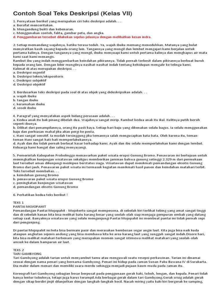 Soal Pilihan Ganda Teks Deskripsi Kelas 7 Kurikulum 2013 : pilihan, ganda, deskripsi, kelas, kurikulum, Latihan, Materi, Deskripsi, Kelas, Bagian, Cute766