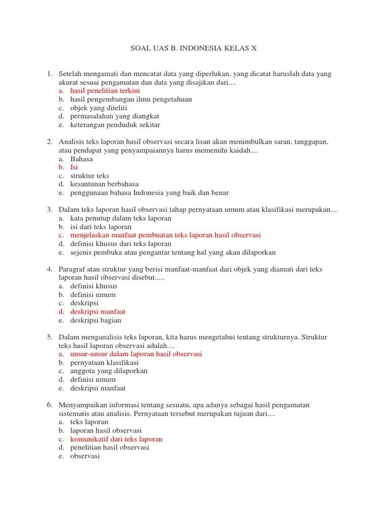 Dalam teks laporan hasil observasi tahap pernyataan umum