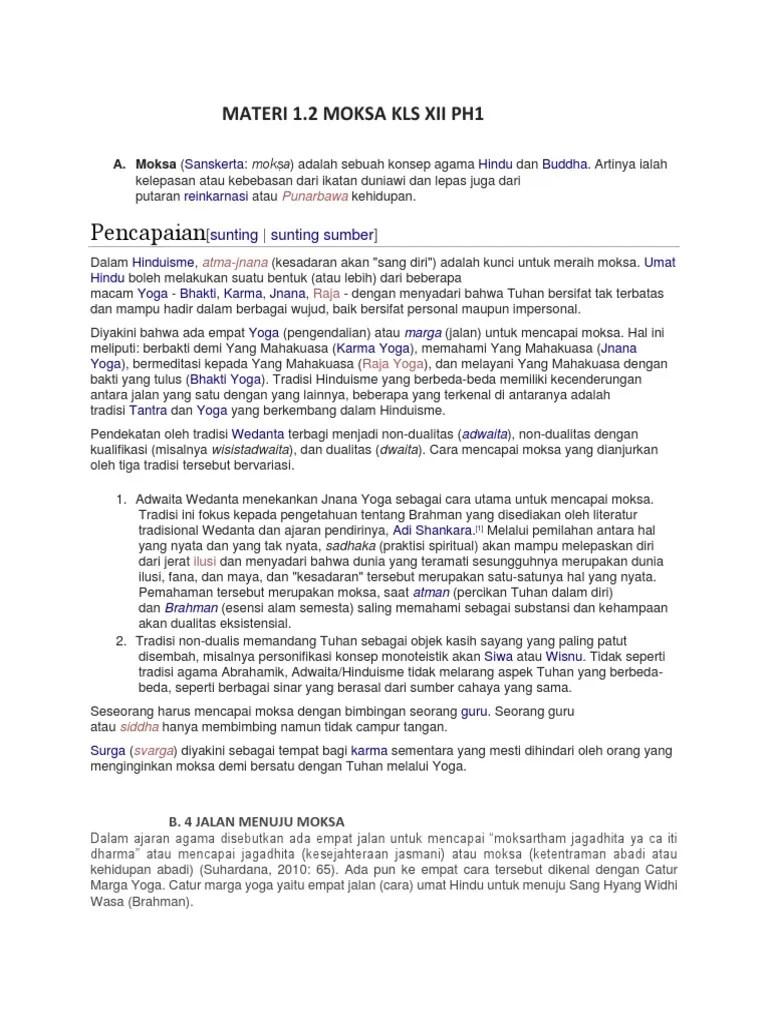 Ajaran Moksa : ajaran, moksa, Materi, Moksa