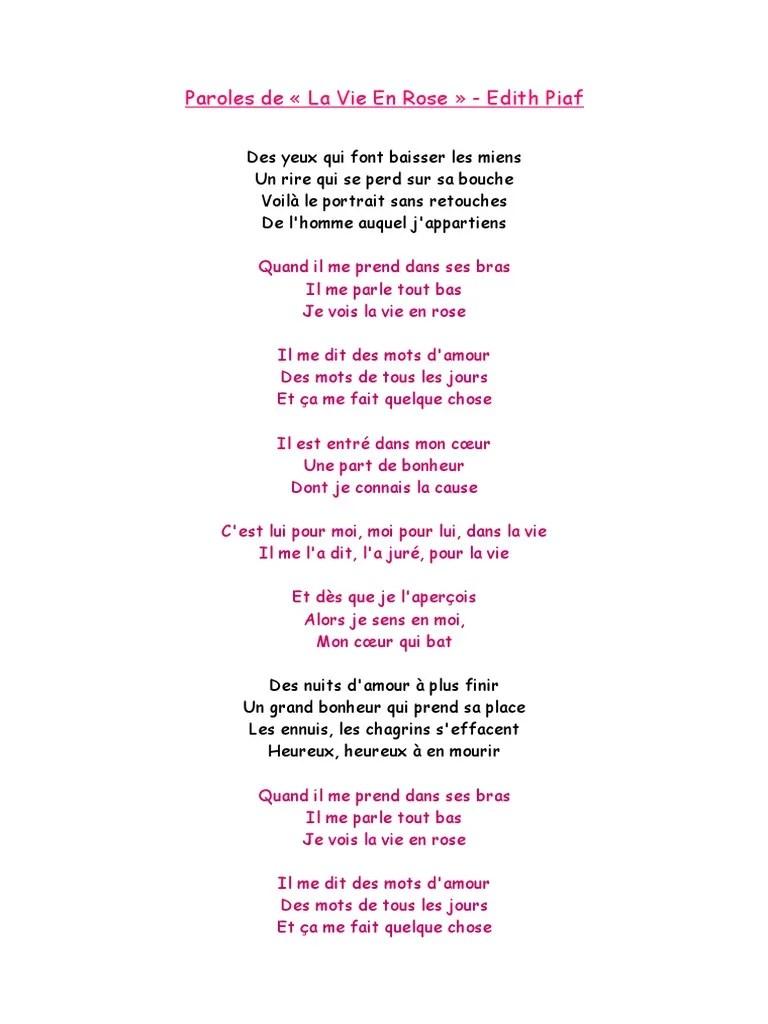 Parole A La Vie A L'amour : parole, l'amour, Paroles, Edith
